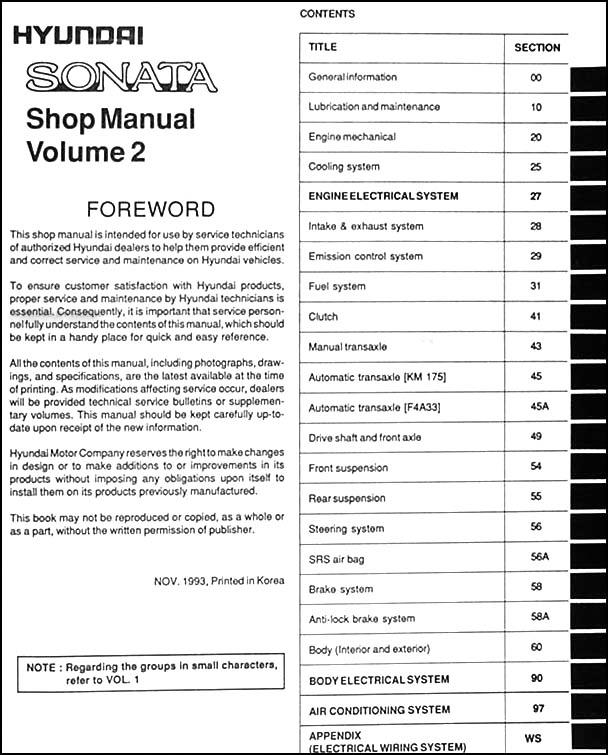 1995 hyundai sonata repair shop manual original 2 volume set rh faxonautoliterature com Hyundai Accent 2015 Hyundai Sonata