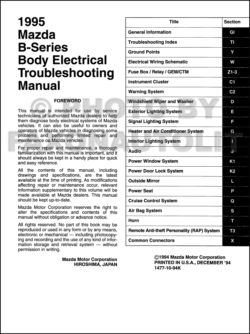 1995 Mazda Truck Body Electrical Troubleshooting Manual Original B2300 B3000 B4000