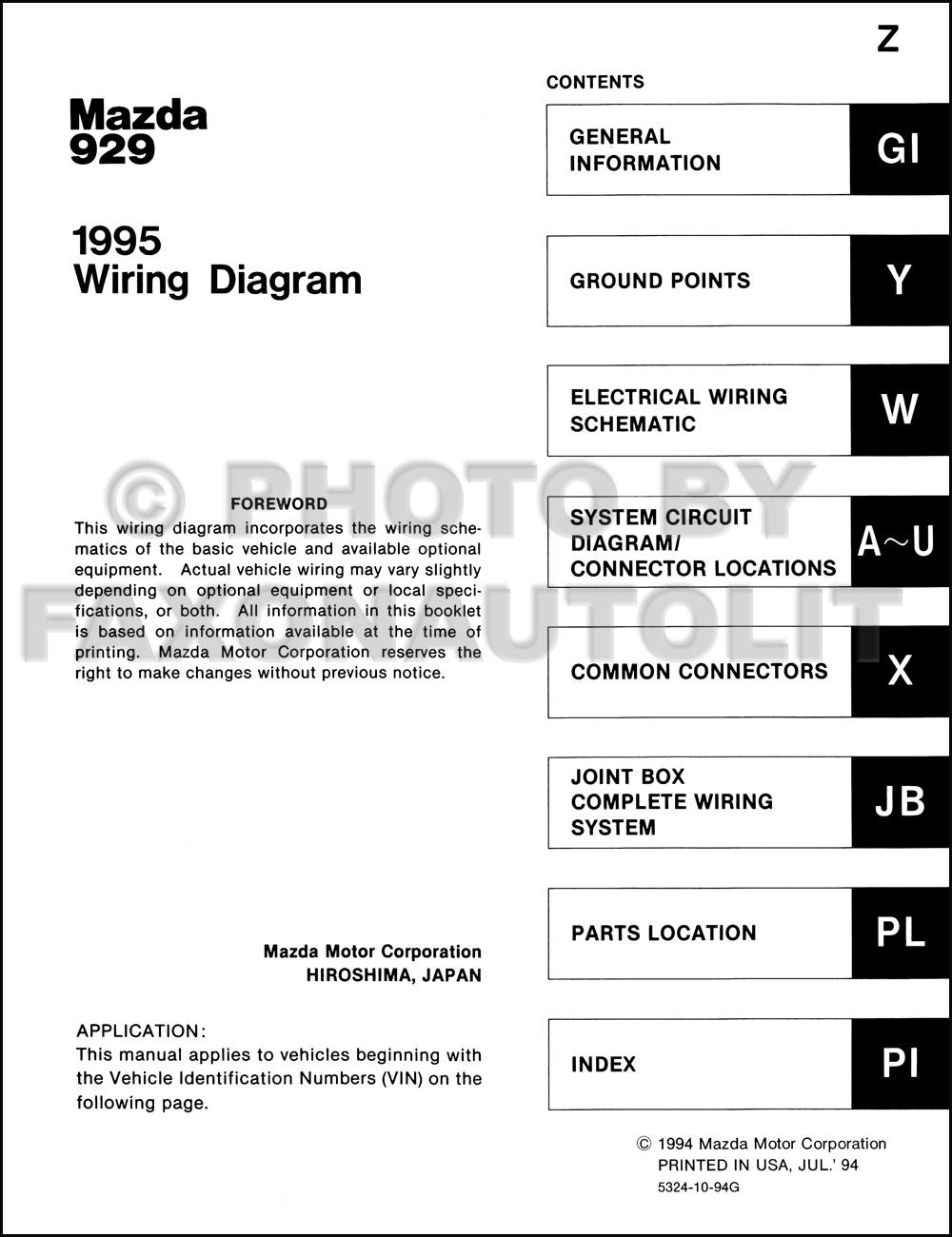 1995 Mazda 929 Wiring Diagram Manual Original