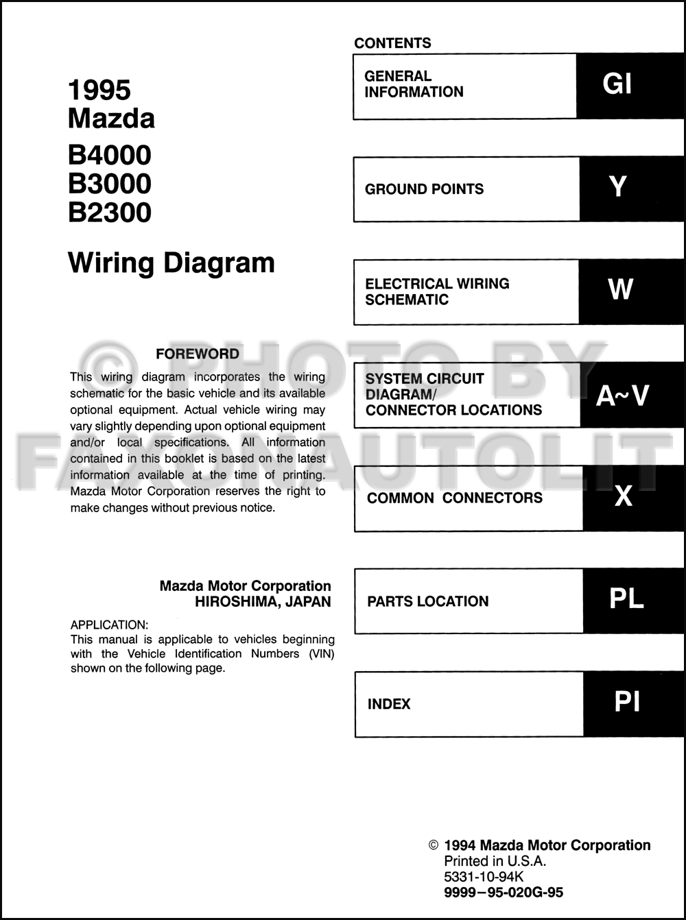 1995 mazda b4000 b3000 b2300 pickup truck wiring diagram manual original rh faxonautoliterature com Mazda B4000 Transmission Problems 2002 Mazda B4000 Wiring-Diagram MAF