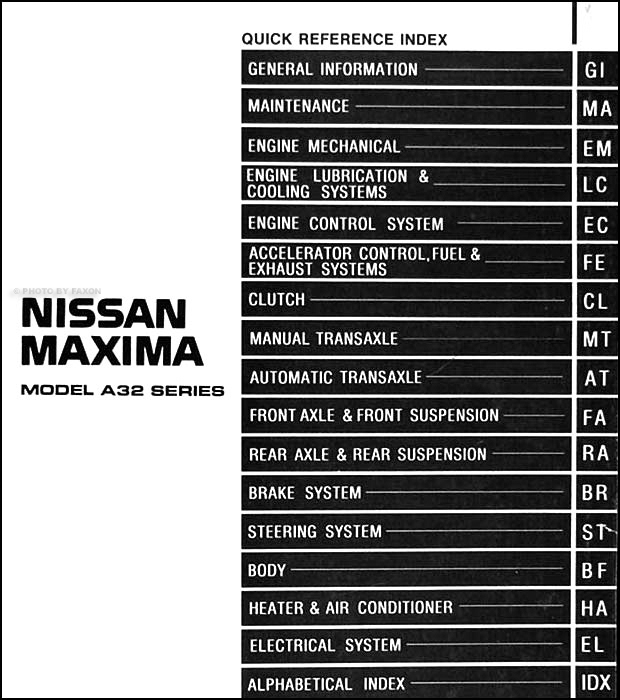 1995NissanMaximaORM TOC 1995 nissan maxima repair shop manual original 1995 nissan maxima fuse box diagram at bayanpartner.co