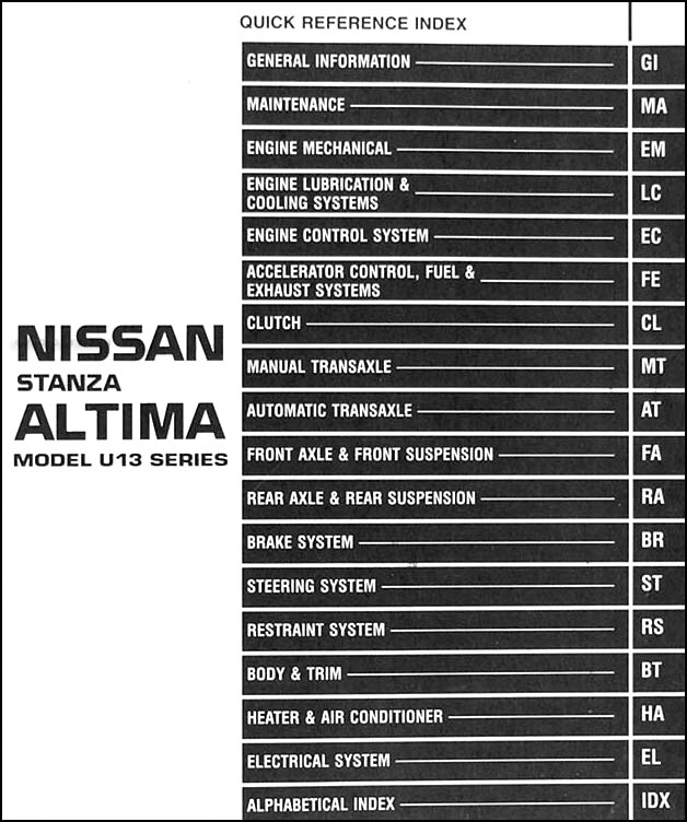 1995 Nissan Stanza Altima Repair Shop Manual Original