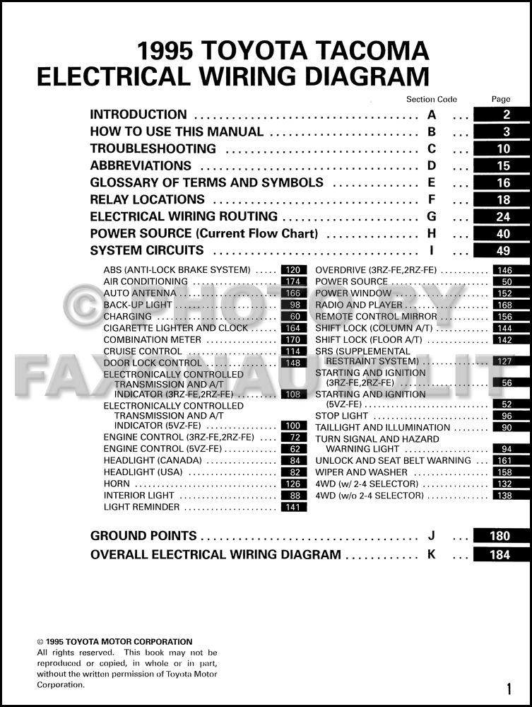 Wiring Diagram Manual Wdm : Toyota tacoma pickup wiring diagram manual original