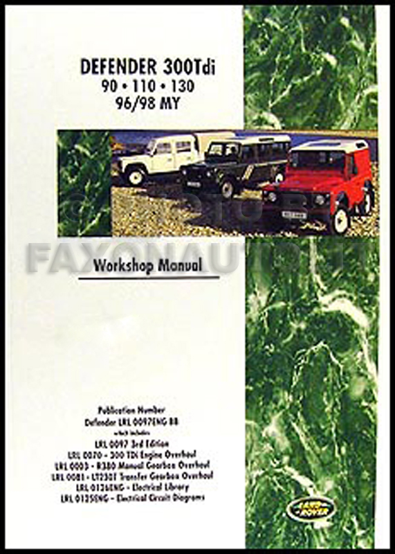 land rover defender shop manual 1996 1997 1998 300tdi 90 ... land rover defender 300tdi wiring diagram pdf #15