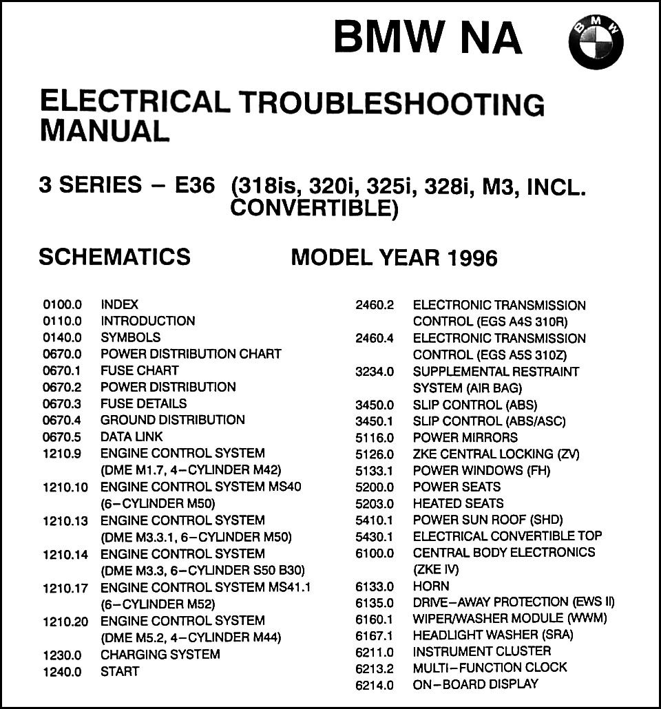 1996 Bmw 318is 320i 325i 328i Amp C M3 Electrical Troubleshooting Manual