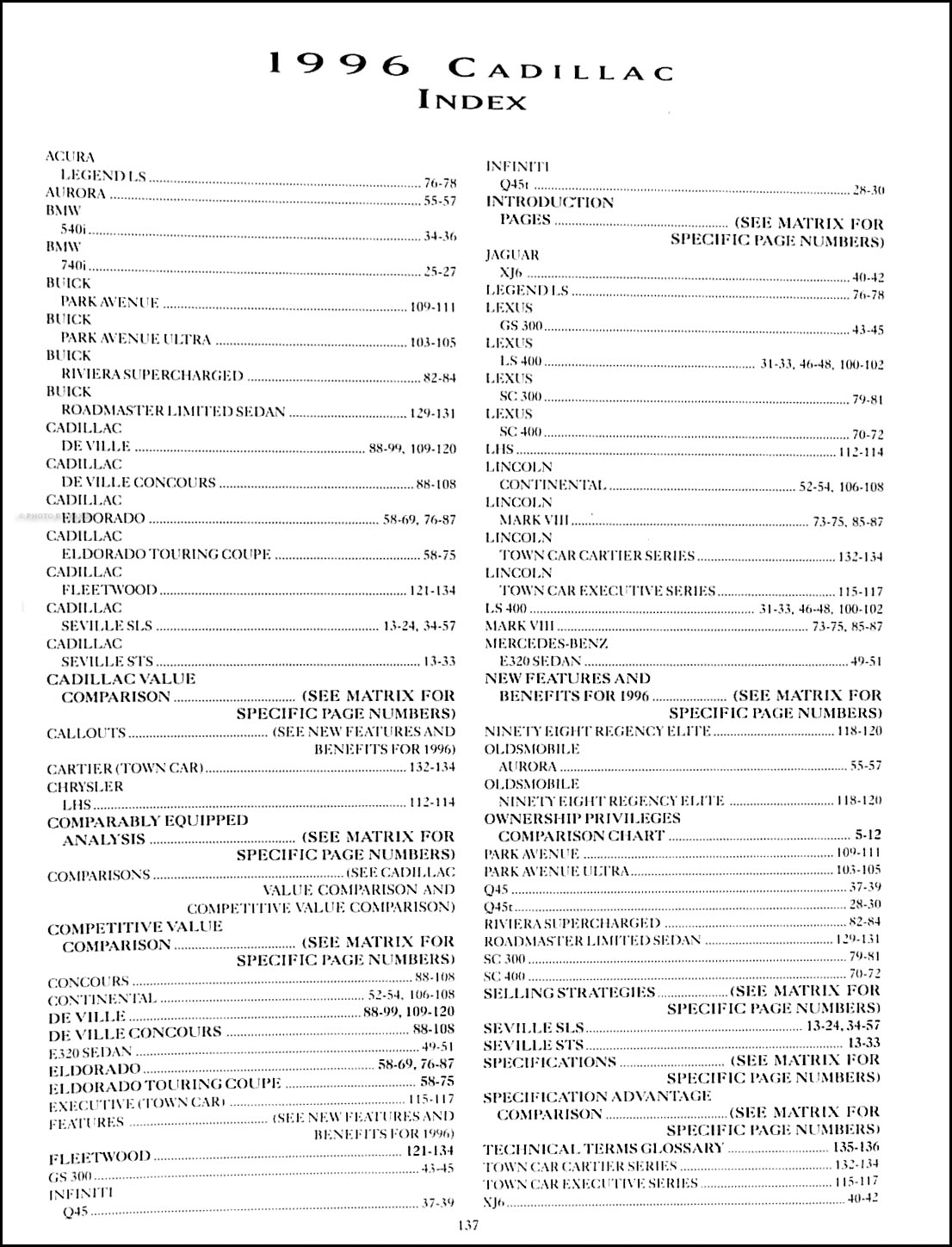 1996 cadillac competitive comparison guide original dealer album