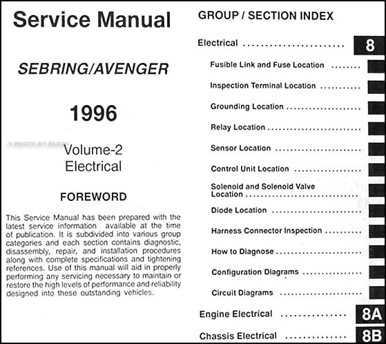 1996 chrysler sebring dodge avenger repair shop manual original 2 rh faxonautoliterature com chrysler sebring service manual free 2008 chrysler sebring service manual