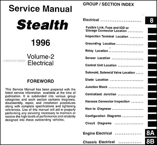 1996 dodge stealth service manual original 2 volume set