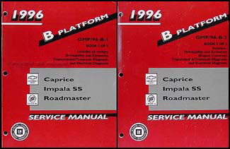 1996 Caprice, Impala SS, Roadmaster Repair Shop Manual Original Set of 2