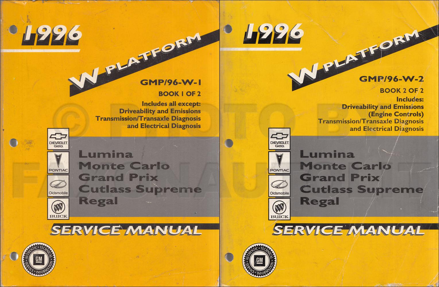 1996 Lumina Monte Carlo Grand Prix Cutlass Supreme Regal Repair Shop Manual