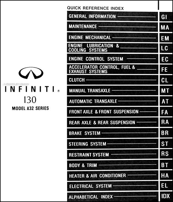 1996InfinitiI30ORM TOC 1996 infiniti i30 repair shop manual original 1996 infiniti i30 fuse box diagram at creativeand.co