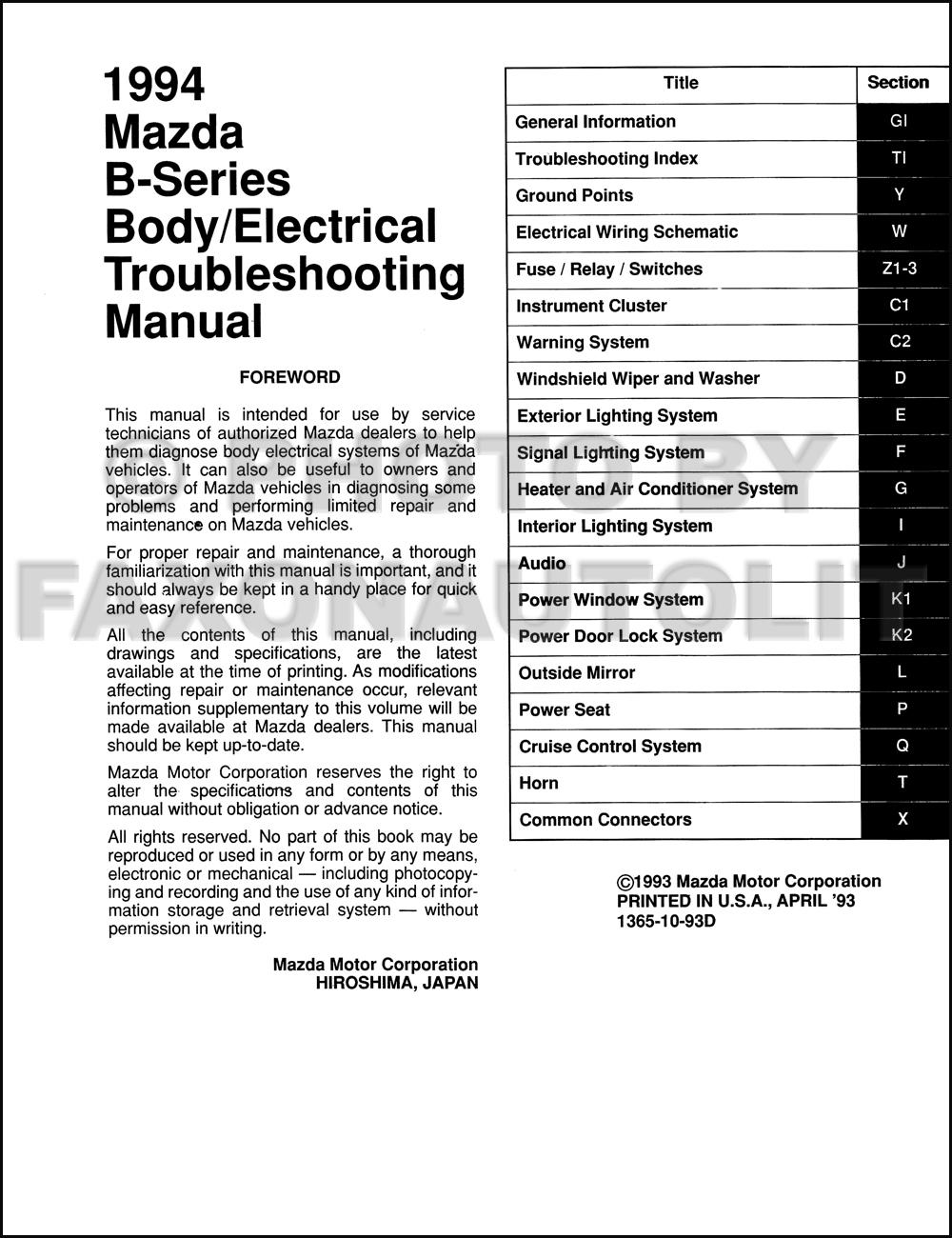 1996 Mazda Pickup Truck Body Electrical Troubleshooting