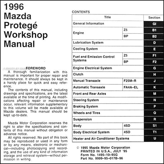 1996 mazda protege repair shop manual original 1996 Mazda Protege 2000 Mazda Protege
