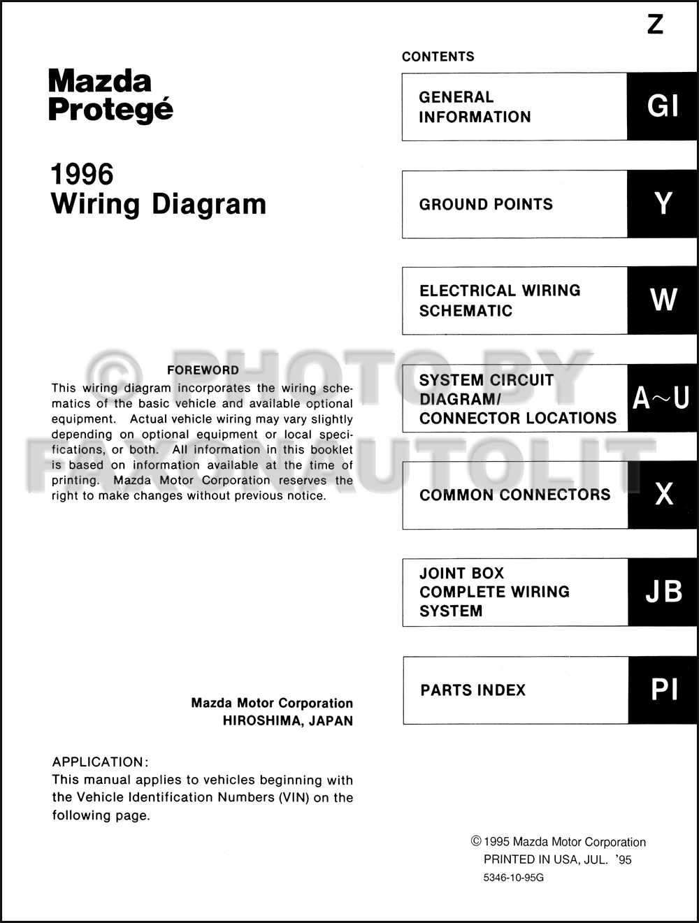 1996    Mazda    Protege    Wiring       Diagram       Manual    Original
