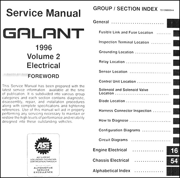 1996MitsubishiGalantORM TOC2 1996 mitsubishi galant repair shop manual set original 01 Mitsubishi Galant Wiring-Diagram at bayanpartner.co
