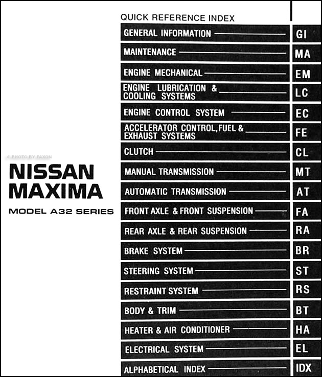 1996 nissan maxima repair shop manual original