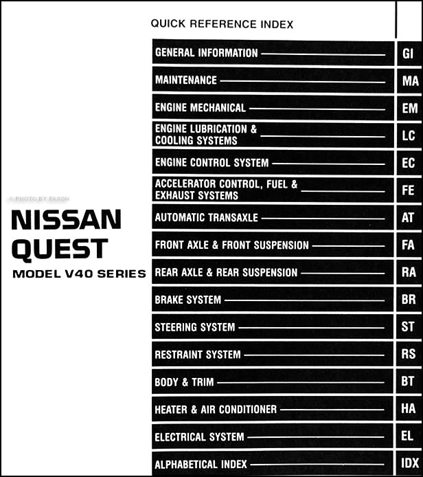 1996 Nissan Quest Van Repair Shop Manual Original