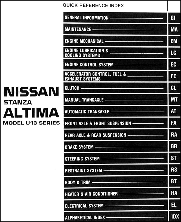 1996 nissan stanza altima repair shop manual original. Black Bedroom Furniture Sets. Home Design Ideas