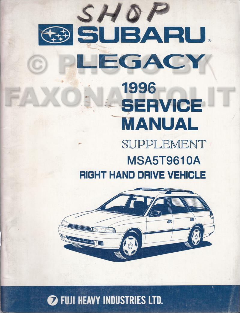 1991 Subaru Legacy RHD Repair Manual Supplement Original