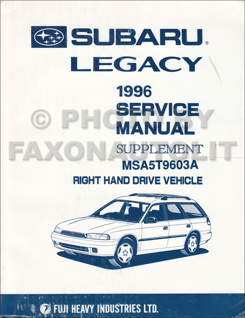 1991 Subaru Legacy RHD Repair Manual Supplement Original