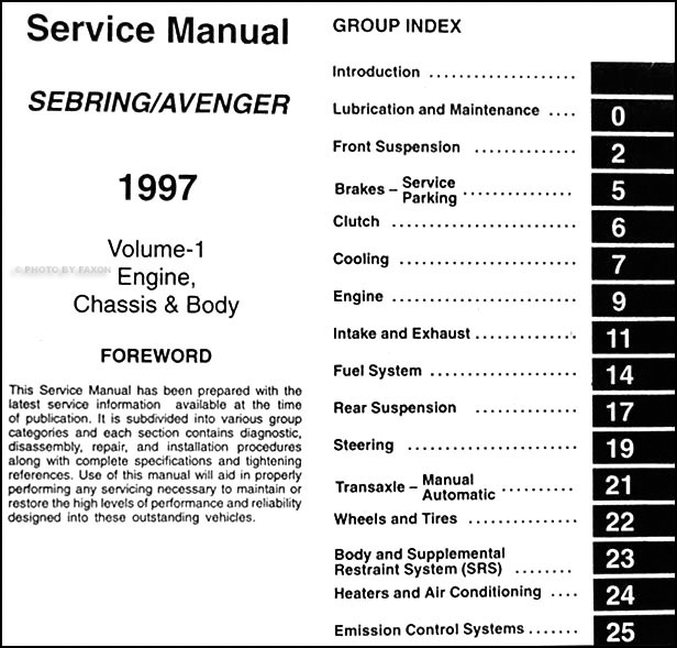 1997ChryslerSebringORM TOC1 1997 chrysler sebring coupe dodge avenger repair shop manual 1997 chrysler sebring fuse box diagram at fashall.co