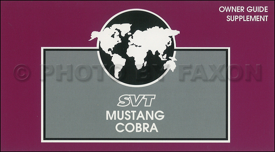 1997 Ford Svt Mustang Cobra Owners Manual Supplement Original