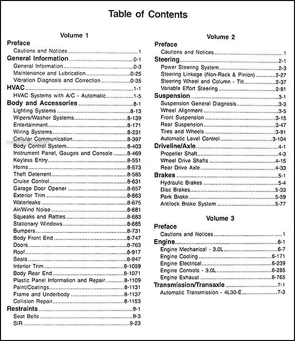 1997 Cadillac Catera Repair Shop Manual Original 3 Volume Set