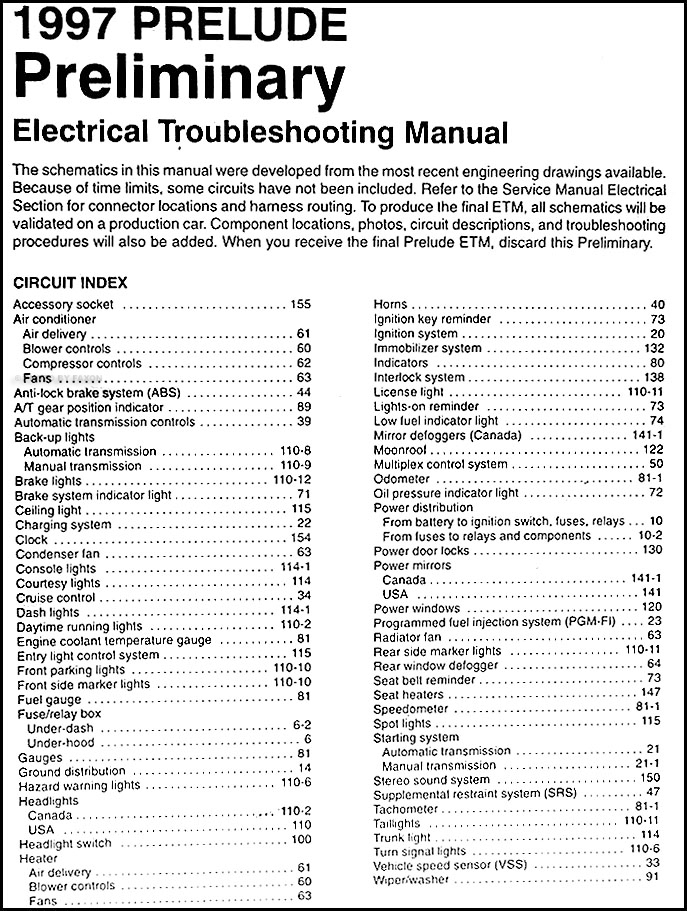 1997 honda prelude preliminary electrical troubleshooting manual orig., Wiring diagram