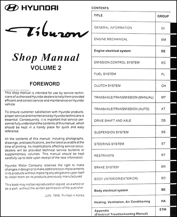 1997 hyundai tiburon repair shop manual original 2 vol set. Black Bedroom Furniture Sets. Home Design Ideas