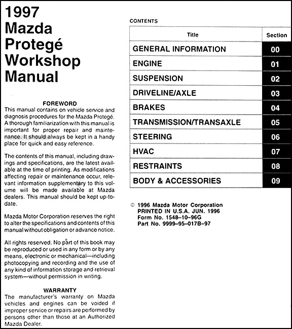 1997 mazda protege repair shop manual original rh faxonautoliterature com 1999 Mazda Protege Engine 1999 Mazda Protege Engine