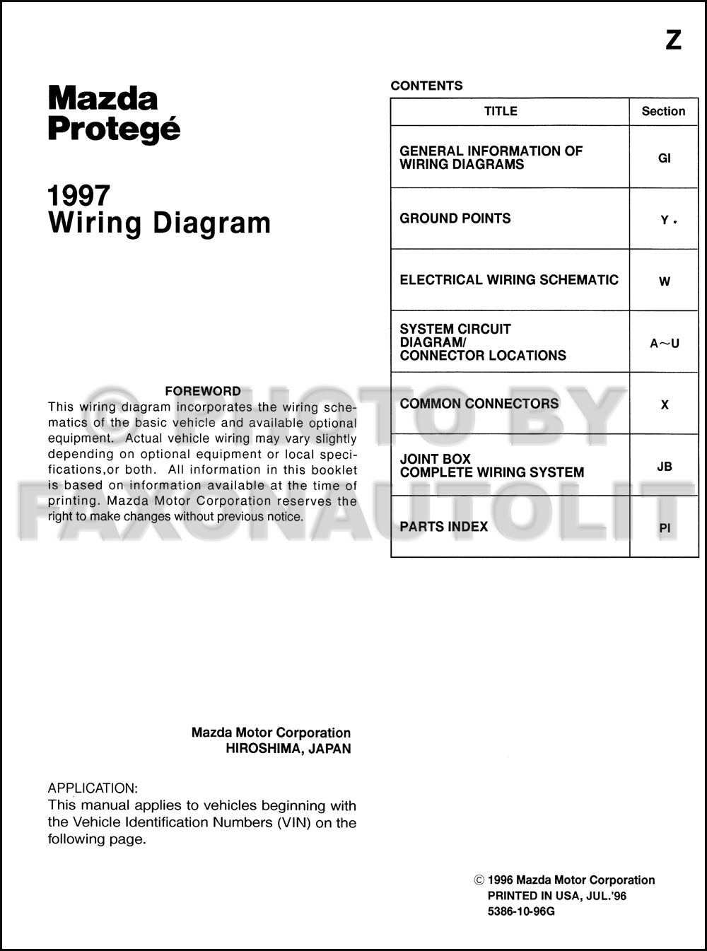 1997MazdaProtegeOWD TOC 1997 mazda protege wiring diagram manual original 1999 mazda protege radio wiring color diagram at bayanpartner.co