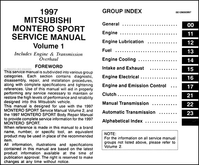 1997 mitsubishi montero sport repair shop manual set original rh faxonautoliterature com 1987 Mitsubishi Montero 1997 Mitsubishi Montero Throttle Body
