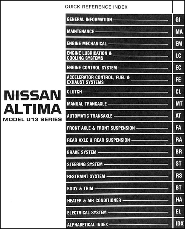 1997NissanAltimaORM TOC 1997 nissan altima repair shop manual original 1997 nissan altima radio wiring diagram at eliteediting.co