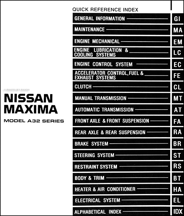 1997 Nissan Maxima Repair Shop Manual Original