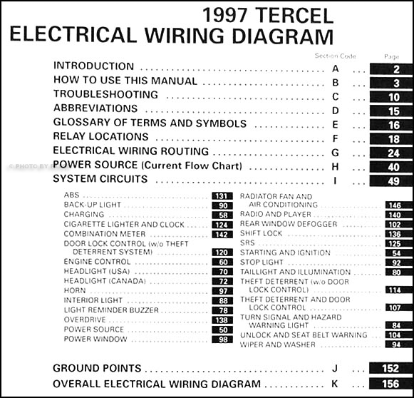 1997 Toyota Tercel Wiring Diagram Manual Original
