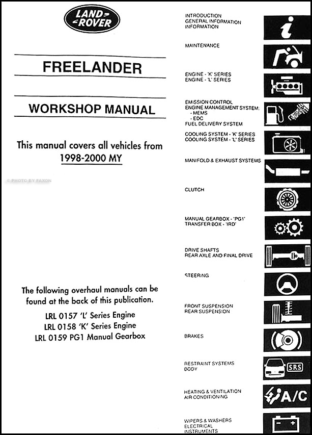 1998 2000 land rover lander repair shop manual reprint table of contents