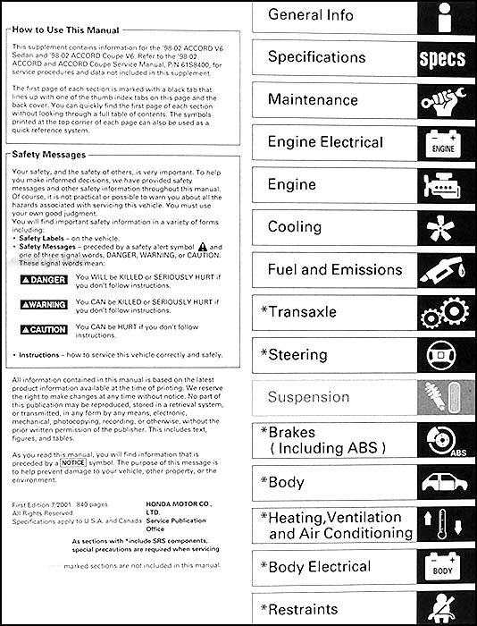 1998 2002 honda accord v6 repair shop manual supplement original rh faxonautoliterature com 1998 honda accord ex repair manual 98 honda accord ex owners manual