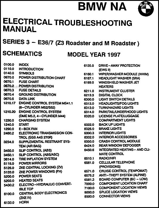 1998 Bmw Z3 And M Roadster Electrical Troubleshooting Manual Original