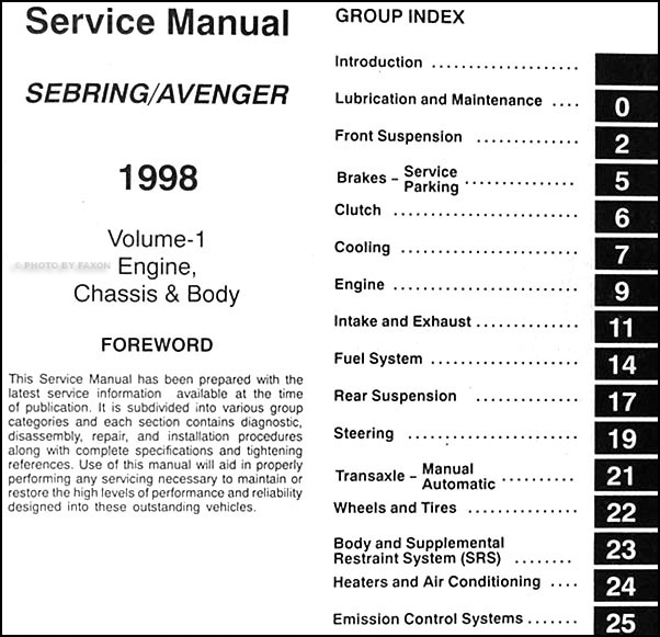 1998 chrysler sebring dodge avenger repair shop manual original 2 volume set