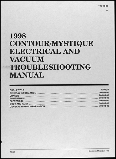 1998ContourMystiqueEVTMTOC 1998 ford contour mercury mystique electrical troubleshooting manual 1998 ford contour wiring diagram at eliteediting.co