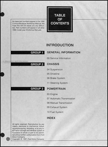 1998 ford contour mercury mystique repair shop manual original 2 rh faxonautoliterature com 1998 ford contour manual manual ford contour 98 español