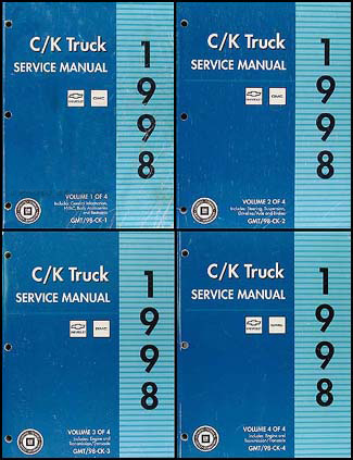 1998 c k 1500 3500 repair shop manual set pickup suburban tahoe yukon rh faxonautoliterature com 2000 Chevy Silverado 1998 chevrolet silverado owners manual