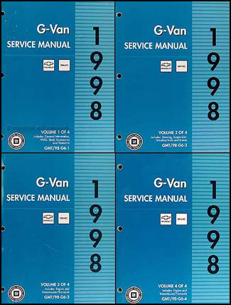 1998 Express and Savana Van Repair Manual 4 Volume Set Original