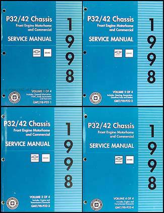 1998 P32 P42 Stepvan & Motorhome Chassis Repair Shop Manual Set Original