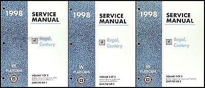 1998 buick regal and century repair shop manual original 3 volume set 1998 buick regal and century repair manual original 3 volume set publicscrutiny Choice Image