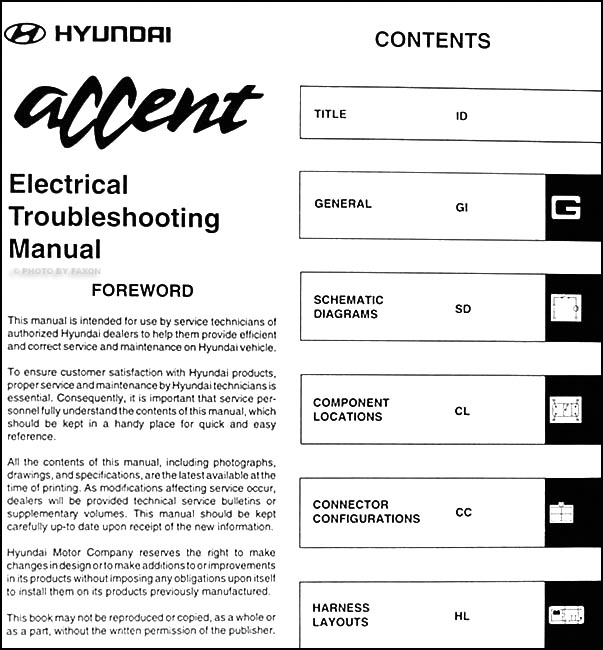 1998HyundaiAccentETM TOC 1998 hyundai accent electrical troubleshooting manual original 1997 Hyundai Accent GS at bayanpartner.co
