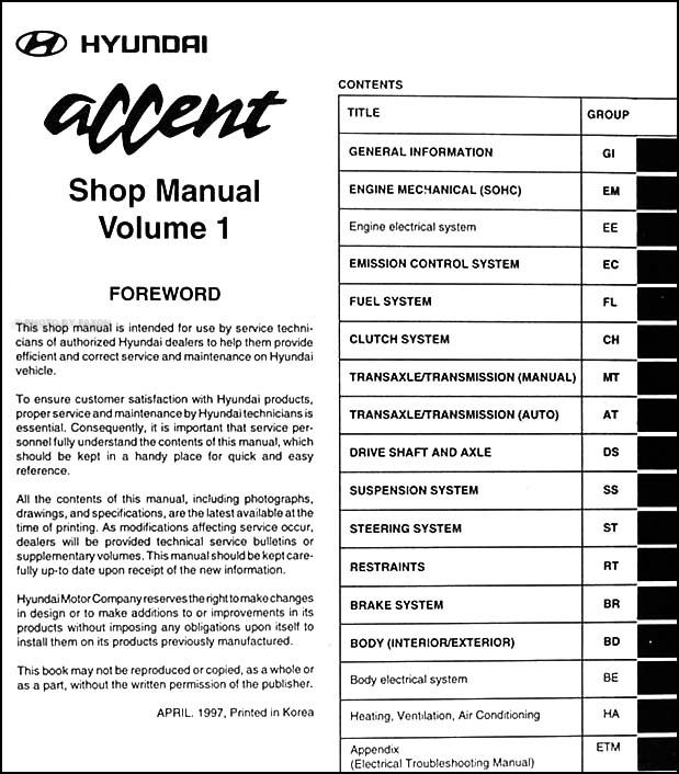 1998 hyundai accent repair shop manual original 2 volume set rh faxonautoliterature com 2000 Hyundai Accent Manual 2000 Hyundai Accent Manual