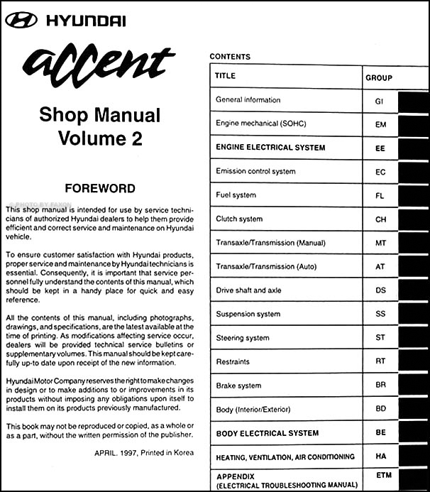 Hyundai accent repair shop manual original volume set