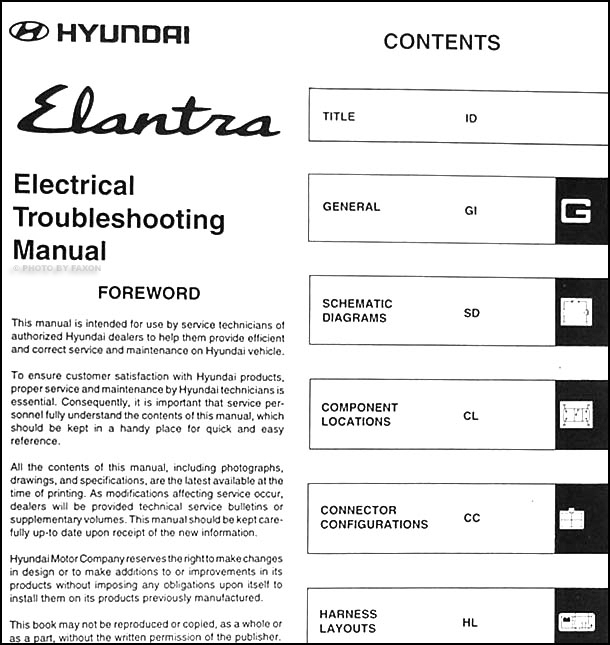 1998 hyundai elantra electrical troubleshooting manual reprint. Black Bedroom Furniture Sets. Home Design Ideas