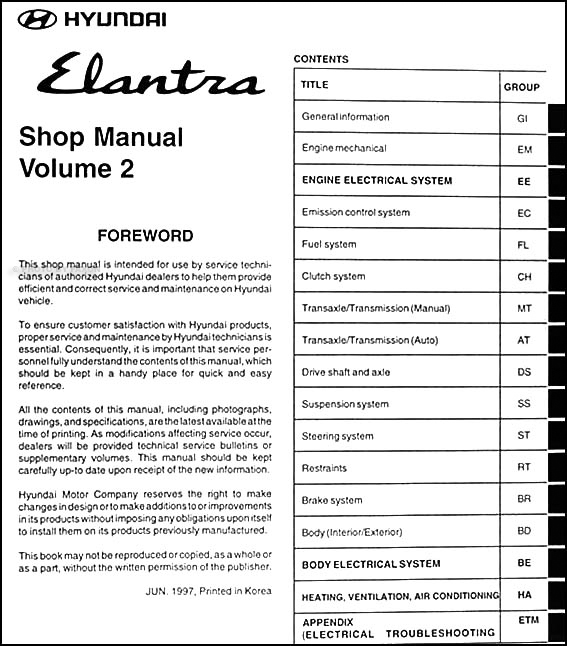 1998 hyundai elantra repair shop manual original 2 vol set rh faxonautoliterature com 1998 Hyundai Elantra MPG 1998 Hyundai Elantra Wagon